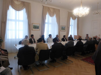 Ambassador Erfani and Minister-Counsellor Wahab Arian meet with Afghan religious leaders in Vienna to condemn the recruitment of Afghan Youth to the fight in Syria.