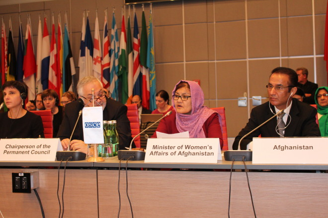H.E. Dilbar Nazari updates the OSCE Permanent Council on progress in the area of women's empowerment in Afghanistan